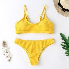 Women Sexy Solid Bikini Set Low Waist Brazilian Bathing Suit Swimwear Summer Swimsuit Female Yellow Textured Beach Wear Biquini