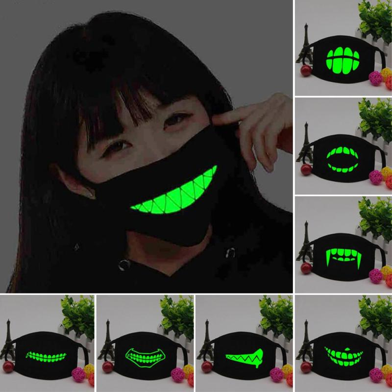 Noche Luminous Mouth Mask Cosplay Party Scary anti dust máscara Skull Dientes Face Mouth Mask Carnival Festival Skeleton Masks L55