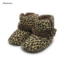 Alisenna Baby Shoes Autumn and Winter New Baby Toddler Shoes Snow Boots Baby Cotton Shoes Boots for Girls cheap Fashion Boots Knee-High Flat with Hook Loop Round Toe Plush Fits true to size take your normal size Unisex Leopard Canvas