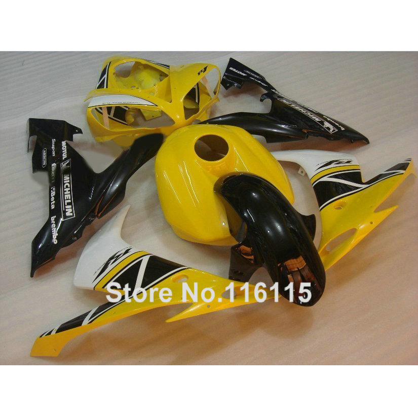 ABS del motociclo carenature set per YAMAHA YZF R1 2004 2005 2006 bianco giallo nero kit carenatura R1 04 05 06 CY15 Pieno iniezione