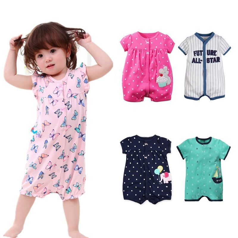 New Summer Baby Rompers Cotton Short-sleeved Baby Girl Clothes Infant Jumpsuit Baby Boy Clothing Roupa Newborn Bebes Costume 3pcs set newborn infant baby boy girl clothes 2017 summer short sleeve leopard floral romper bodysuit headband shoes outfits