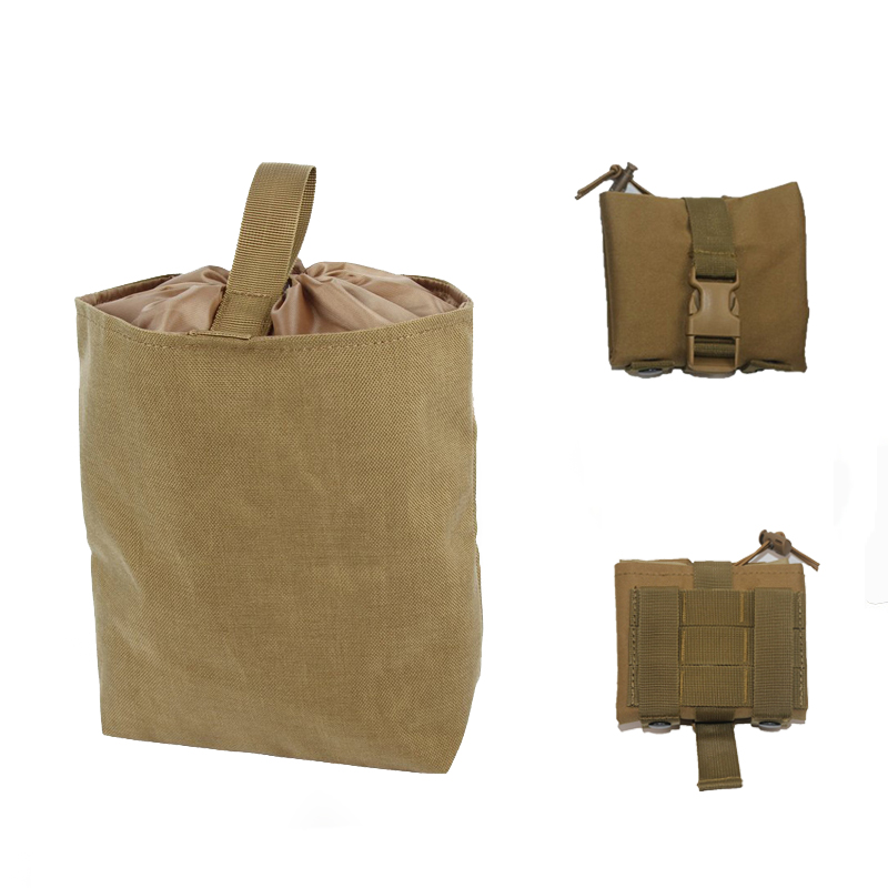 Folding MOLLE Magazine Recovery Drop Dump Pouch Airsoft Paintball Hunting Tool Drop Mag Drawstring Collapsible Pouch
