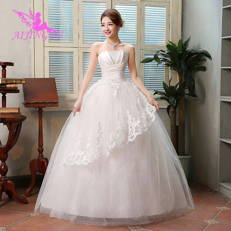 AIJINGYU 2018 Ivory Free Shipping New Hot Selling Cheap Ball Gown Lace Up Back Formal Bride Dresses Wedding Dress WK465
