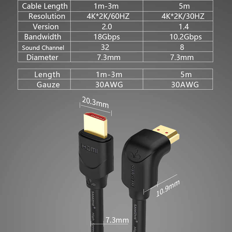 4K HDMI 2.0 כבל 90/270 תואר זווית HDMI ל-hdmi כבל 2K * 4K 1M 1.5M 2M 3M 5M 1080P 3D עבור טלוויזיה מחשב מקרן PS3 PS4 מחשב נייד