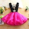 Новый 2016 ruched органзы лоскутная подростков девочек платье мода v шеи воротник девушки платье принцессы для 14 ~ 20age девушка ну вечеринку платье
