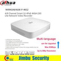 Dahua NVR NVR4104 P 4KS2 NVR4108 P 4KS2 4 PoE Ports Video Recorder 4Ch/8CH Smart Mini 1U Up to 8MP Resolution Max 80Mbps H.265