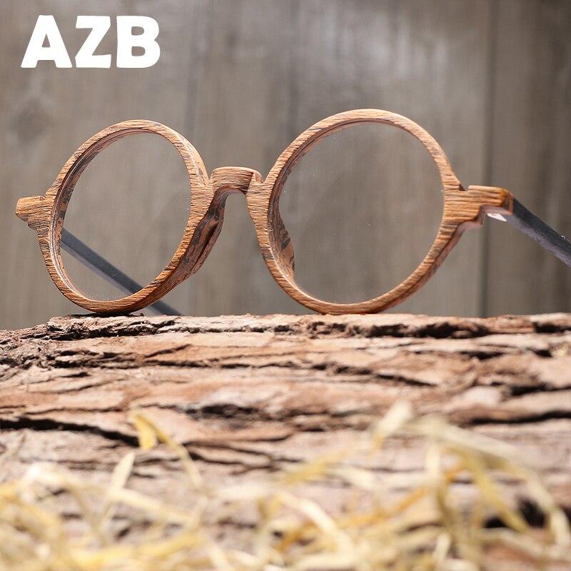 AZB Retro Optical Glasses Frame Wood Men Women Brand Design Eyeglasses Frames With Lens Wooden Glain Glasses Spectacles
