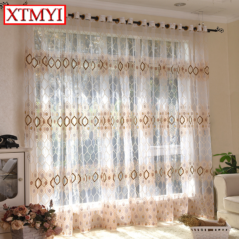 Modern Tulle Curtains For Living Room Brownblue Bedroom