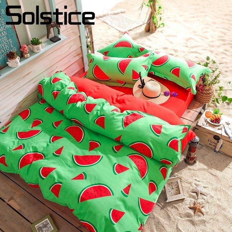 Solstice Home Textile King Queen Full Twin Bedding Sets Kids Teen Boy Girls Linens Watermelon Duvet Cover Pillowcase Flat Sheets