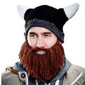 Funny Handmade Crochet Cartoon Viking Horn Hat Men Children Family Bearded Face Knitted Mask Xmas horn Father Child Hat
