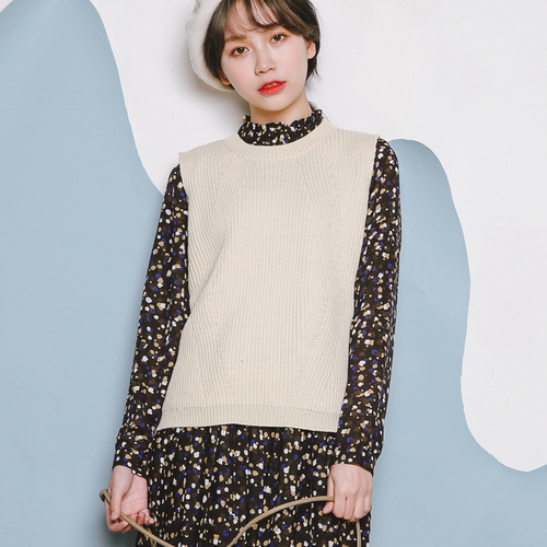 Autumn Winter Korean Style Casual Round Neck Knitted Sweater Vest - Women's Clothing - Photo 2