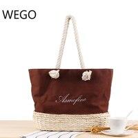 2019 Straw + Canvas Waterproof Bag Women Rattan Clutch Handbag Summer Beach Bag Women Tote Bolsa beach casual knitting bag