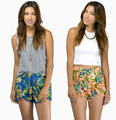 New 2014 Sweet Pom Pom Hem High Waist Shorts Elastic Waist Mini Spring Casual feminino Shorts wholesale XS-XXL B574