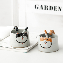 OUSSIRRO Cartoon Animals Corgi Pattern Natural Marble Porcelain Coffee Mug Tea Milk Cup Creative Gift