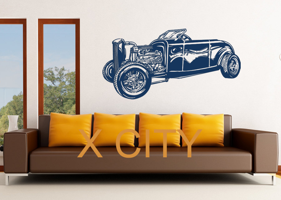 Retro old school hot rat rod car vintage classic wall art for Classic house vinyl