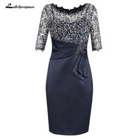 Half Sleeves Navy Blue Mother Of The Bride Dress with Lace Beading Plus Size Mother Gowns Party Dress Mother Dresses For Wedding