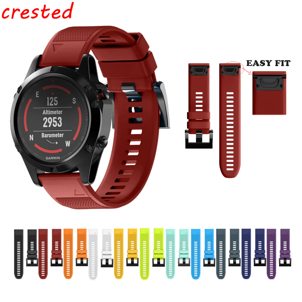 все цены на CRESTED silicone watch band for Garmin Fenix 5/Forerunner 935/3 HR/3/5S strap Replacement soft rubber strap for Garmin band онлайн