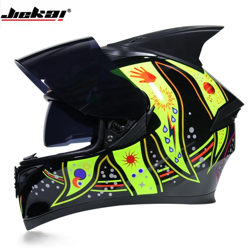 Jiekai Motocrycle Helmets Winter Summer Full Face Racing Motocross Protection Warm Moto Double Lens Motorbike Helmet