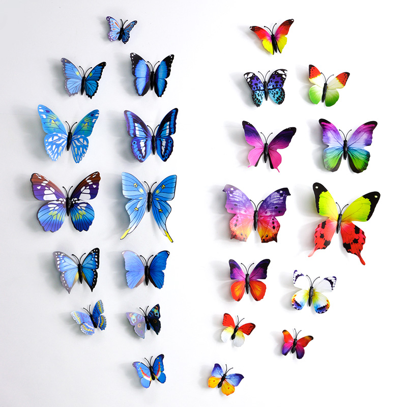 12pcs/set Double Wings Magnet Butterflies Refrigerator Stickers Home Decor Removable 3D Refrigerator magnet Magnetic sticker home decor 3d butterfly diy wall stickers set