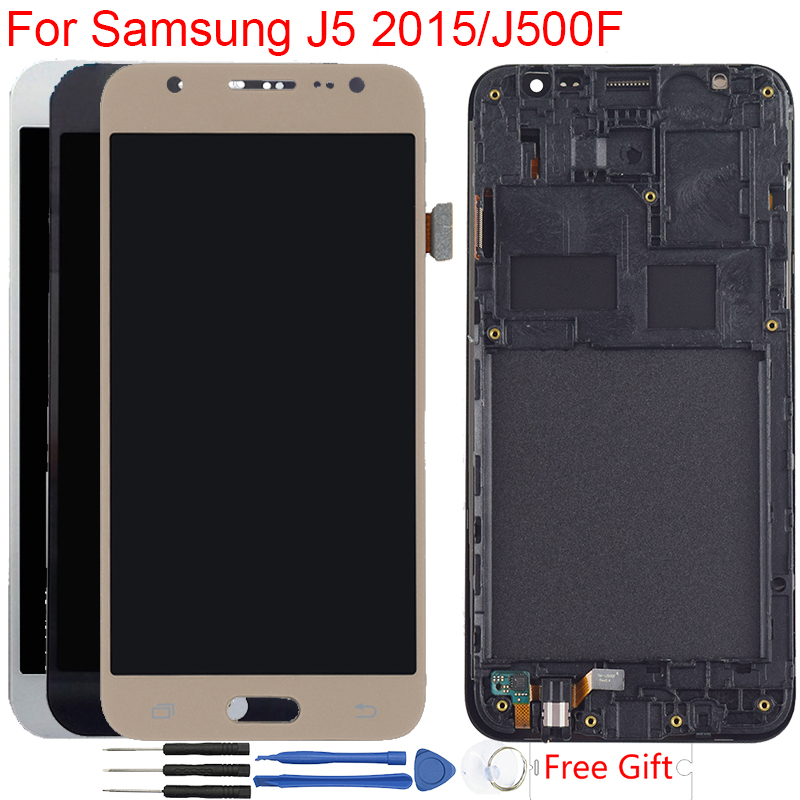 J5 2015 Display For Samsung Galaxy J5 2015 <font><b>J500F</b></font> <font><b>LCD</b></font> Display With Frame Touch Screen Digitizer Assembly Adjustable Brightness image