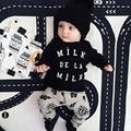 2016 Nueva Primavera Ropa de Bebé Establece 2 UNID trajes Trajes de la camiseta + Pantalones de Algodón de Los Bebés Recién Nacidos Del Bebé Chándales de las niñas