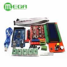 3D 프린터 키트 메가 2560 R3 + 1Pcs RAMPS 1.4 컨트롤러 + 5Pcs A4988 스테퍼 드라이버 모듈 RAMPS 1.4 2004 LCD 제어