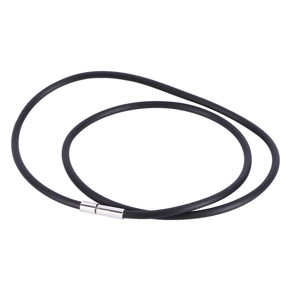 Black Rubber Cord Necklace Leather Rope Chain Necklace with Stainless Steel For Women Men Charm Jewelry Choker Collier collares