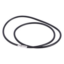 Black Rubber Cord Necklace Leather Rope Chain Necklace with Stainless Steel Jewelry Women Men Choker Collier collares(China)