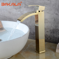Basin Faucets Waterfall Tap Bathroom Faucet Single handle Basin Mixer Tap Bath Golden Faucet Brass Sink Water Crane Silver