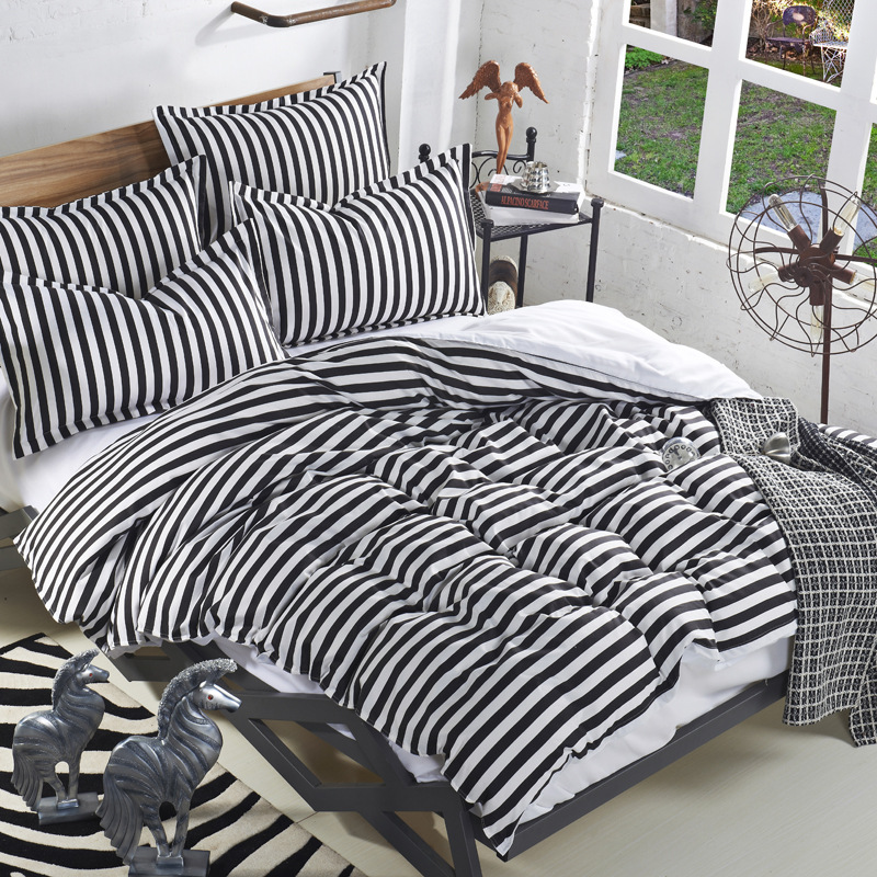 Simple Classic Stripe Bedding Set With Sheets Soft Modern Duvet Cover Set  Black And White Quilt Cover Set Clearance Sjt030 In Bedding Sets From Home  ...