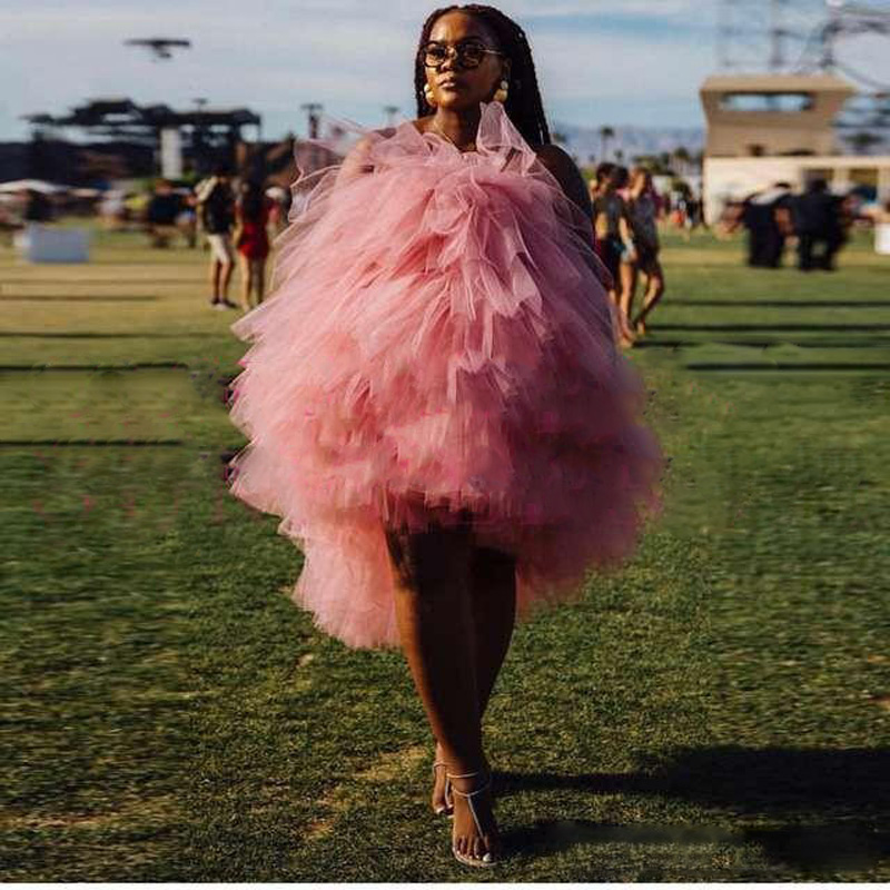 2019 Chic Blush Tulle High Low Cocktail Dresses Plus Size Off Shoulder Tiered Ruffle Prom Gowns Robe De Cocktail Homecoming Dress