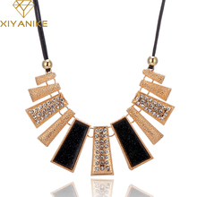 New Arrival Fashion Jewelry Trendy Women Necklaces Pendants Rope Chain Statement Necklace rectangle Pendant For Gift