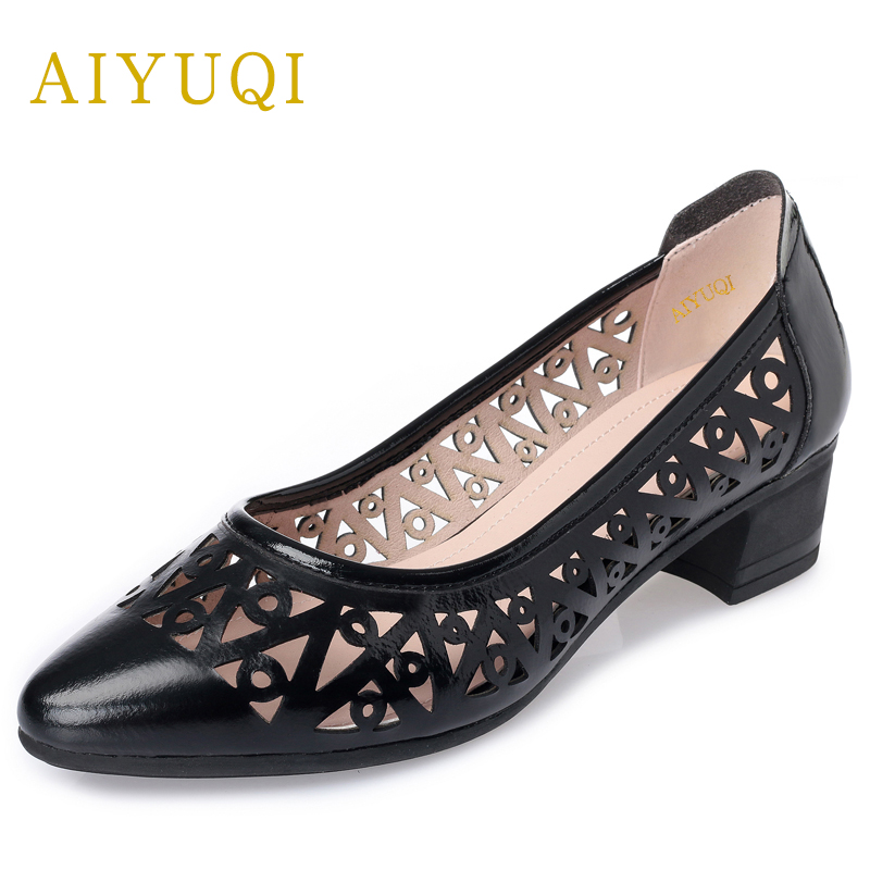 AIYUQI Plus size 41#42#43# women's sandals, summer genuine leather women shoes, comfortable breathable hole casual ,shoes women aiyuqi 2018 new genuine leather women sandals summer flat middle aged mother sandals plus size 41 42 43 casual shoes female