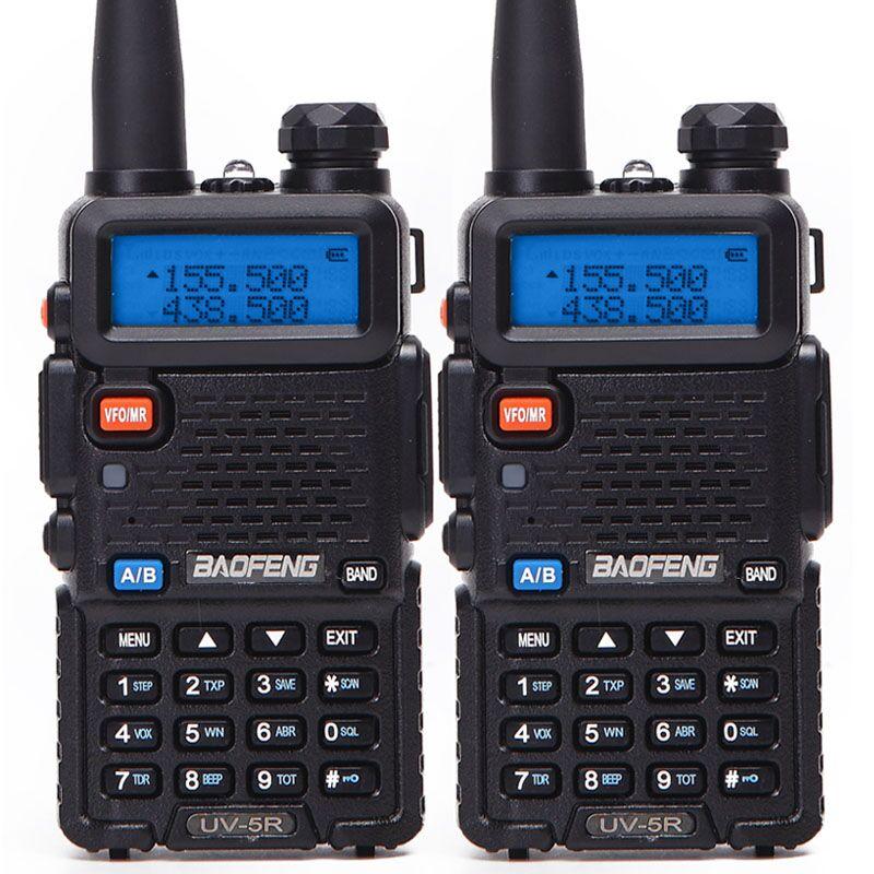 2 шт. Baofeng BF-UV5R Любительское радио портативная рация Pofung UV-5R 5 Вт VHF/UHF радио двухдиапазонное двухстороннее радио UV 5r CB радио - Цвет: black