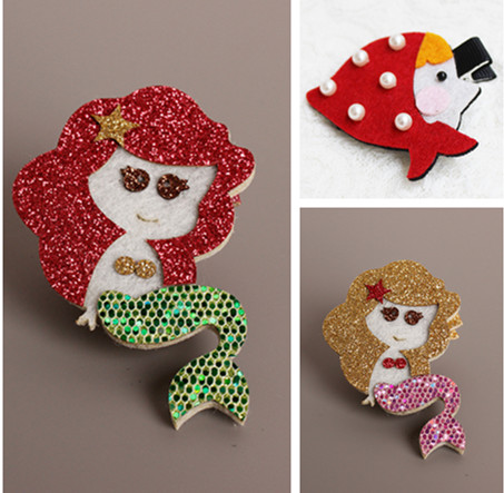 2pcs=1 lot Mermaid Princess Little Red Riding Hood Hair Clips Girls Cotton Hair Bows Hairpins Hair Accessories