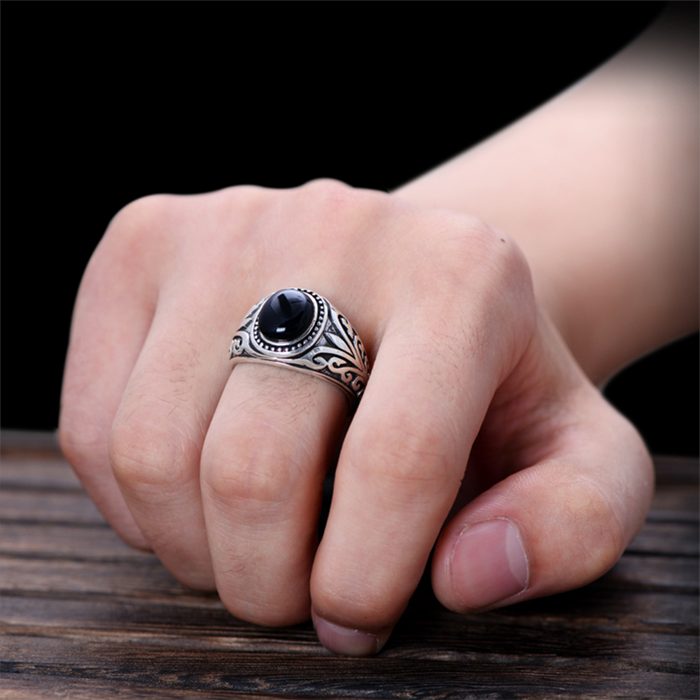 MetJakt Natural Agate/Garnet Ring with Ancient Cane Pattern Solid ...