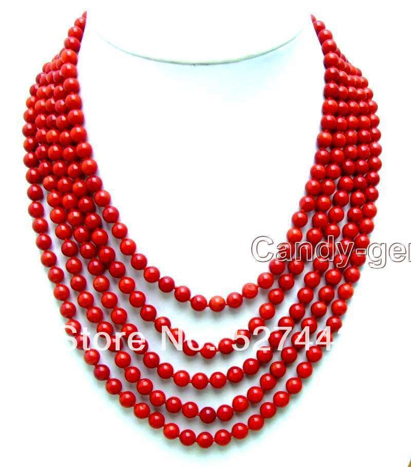 Wholesale free shipping >>SALE Red 6-7mm Round natural coral 5 Strands necklace цена и фото