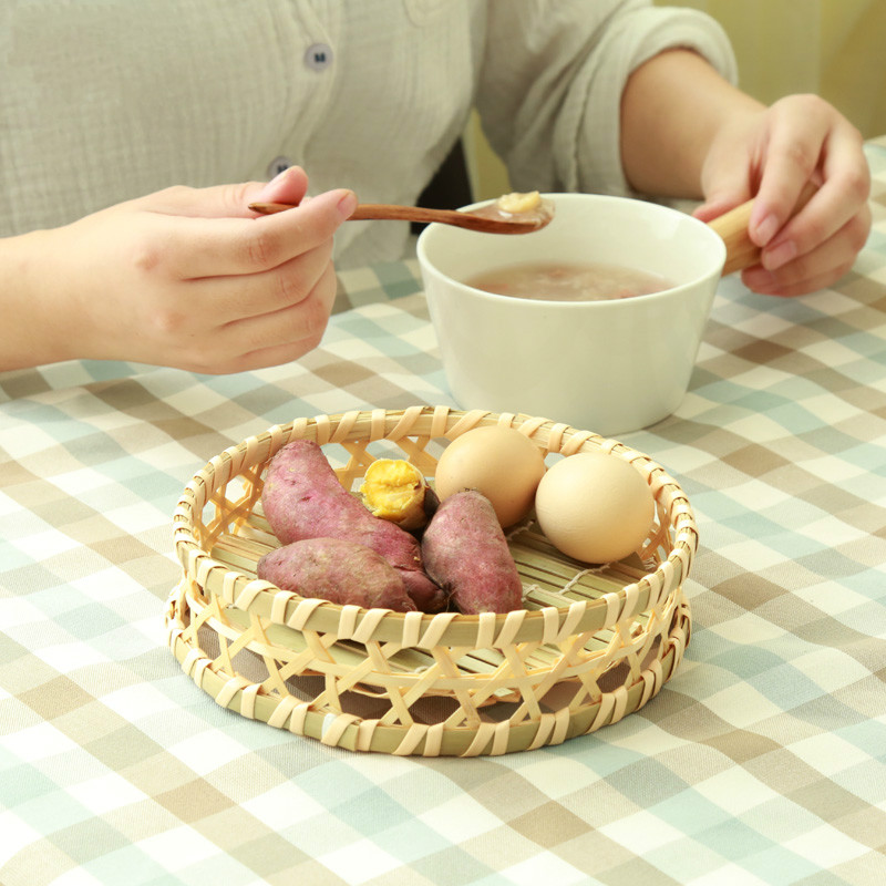 handmade bamboo wooden dishes snacks bread cake plate kitchen storage basket Fruit breakfast
