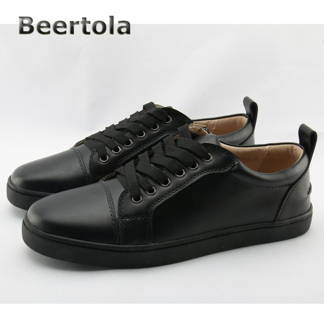 4ff220d94ea Beertola Designer Sneakers Casual Shoes Men Lace Up Black Flat Rubber Sole  Shoes Men Real Leather Mens Shoes Casual Large Size