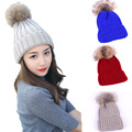 [Ode To Joy]Unisex womem Knitted hat with pompon Hat Women autumn Winter warm Hat fake fur skullies & beanies