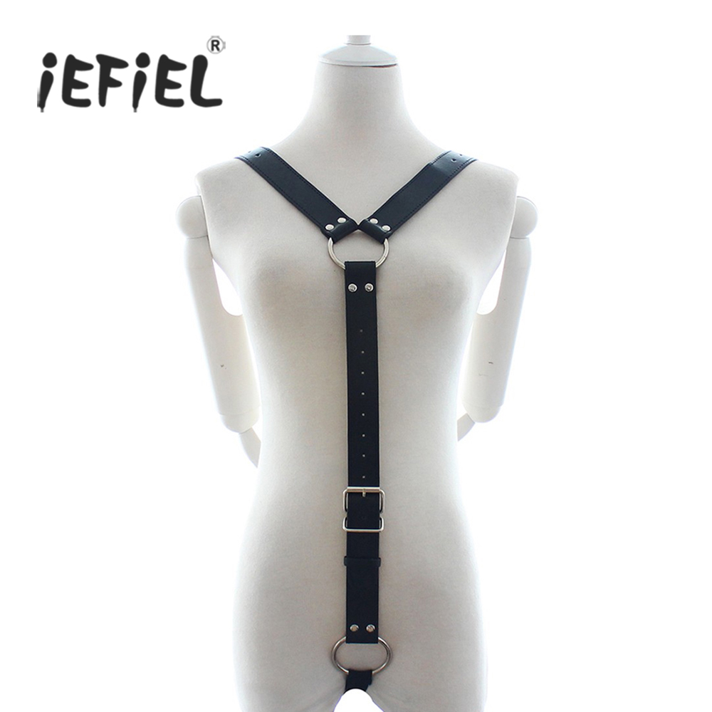 iEFiEL Sexy Gay Mens PU Leather Y Shape Body Chest Harness Costume Body Suit for Men's Middle Strap Adjustable Lingerie Bondage