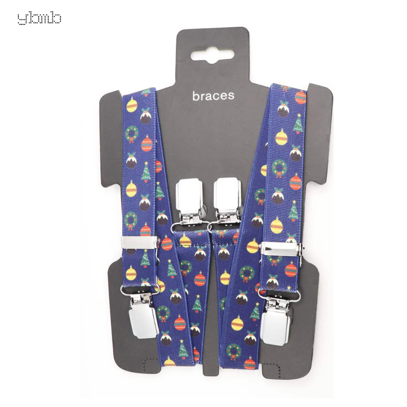 Image 2 - YBMB Christmas Gifts High Quality Fashion  2.5CM 4Clips Mens Suspenders X Shape Adjustable Durable  Elastic Belts Straps Braces-in Men's Suspenders from Apparel Accessories