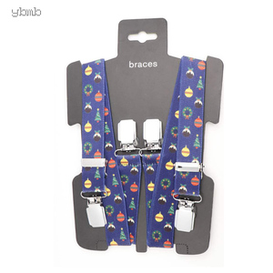 Image 2 - YBMB Christmas Gifts High Quality Fashion  2.5CM 4Clips Mens Suspenders X Shape Adjustable Durable  Elastic Belts Straps Braces