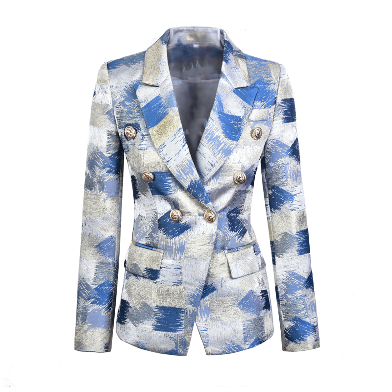 Plus Size XXXL Design Slim Quality Blazers Double Breasted Contrast Color Spring Fashion Runway Outerdoor Clothing Blazers