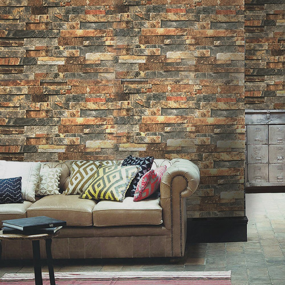 HaokHome Vintage Faux Brick Wallpaper Rusty/Dark Grey Self Adhesive Stacked Stone retro texture living room bedroom Wall Decor wall art vintage stone brick tapestry for bedroom