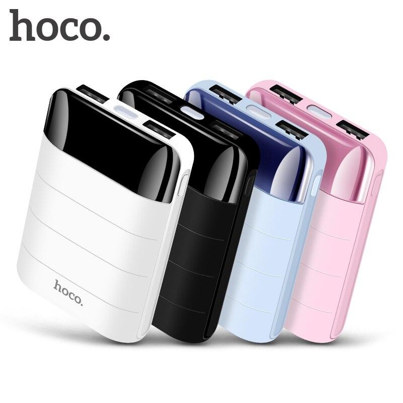 Banco de energía HOCO 10000 mAh Mini USB Dual pantalla LED polímero batería externa cargador portátil banco de energía para iphone Xiaomi