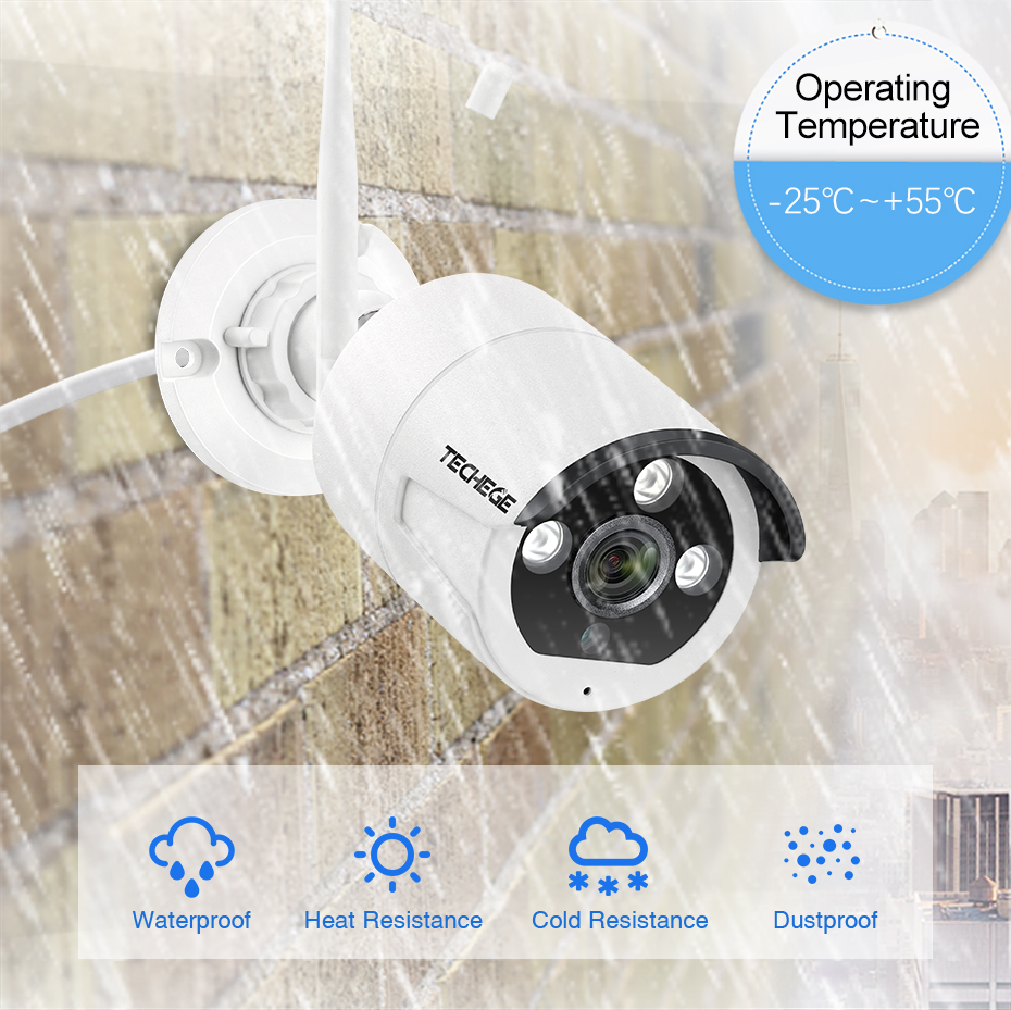 Techege 4CH 1080P Wireless CCTV System Two Way Audio 2MP Waterproof Outdoor Metal Camera System WIFI Video Surveillance Kit