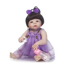 New Victoria 22″ Full Vinyl Body Doll Reborn Baby Princess Doll Lifelike Reborn Doll in Purple Dress of Girls XMAS Gifts Toys