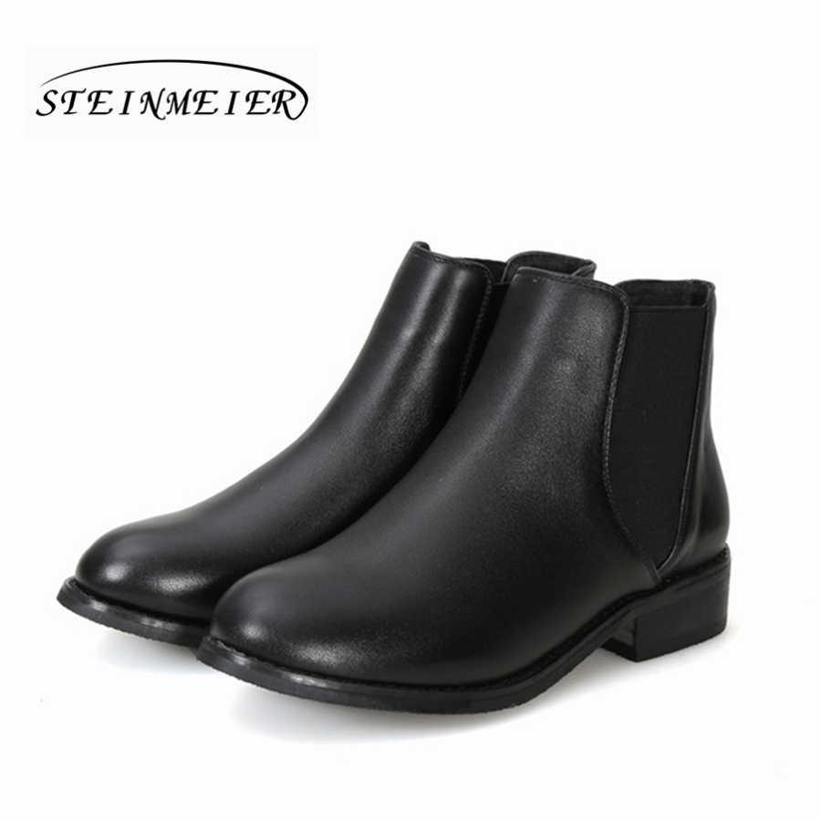 Kadın hakiki inek Deri siyah yarım çizmeler düz Chelsea çizmeler Rahat yumuşak el yapımı kadın bahar kısa çizmeler Ayakkabı