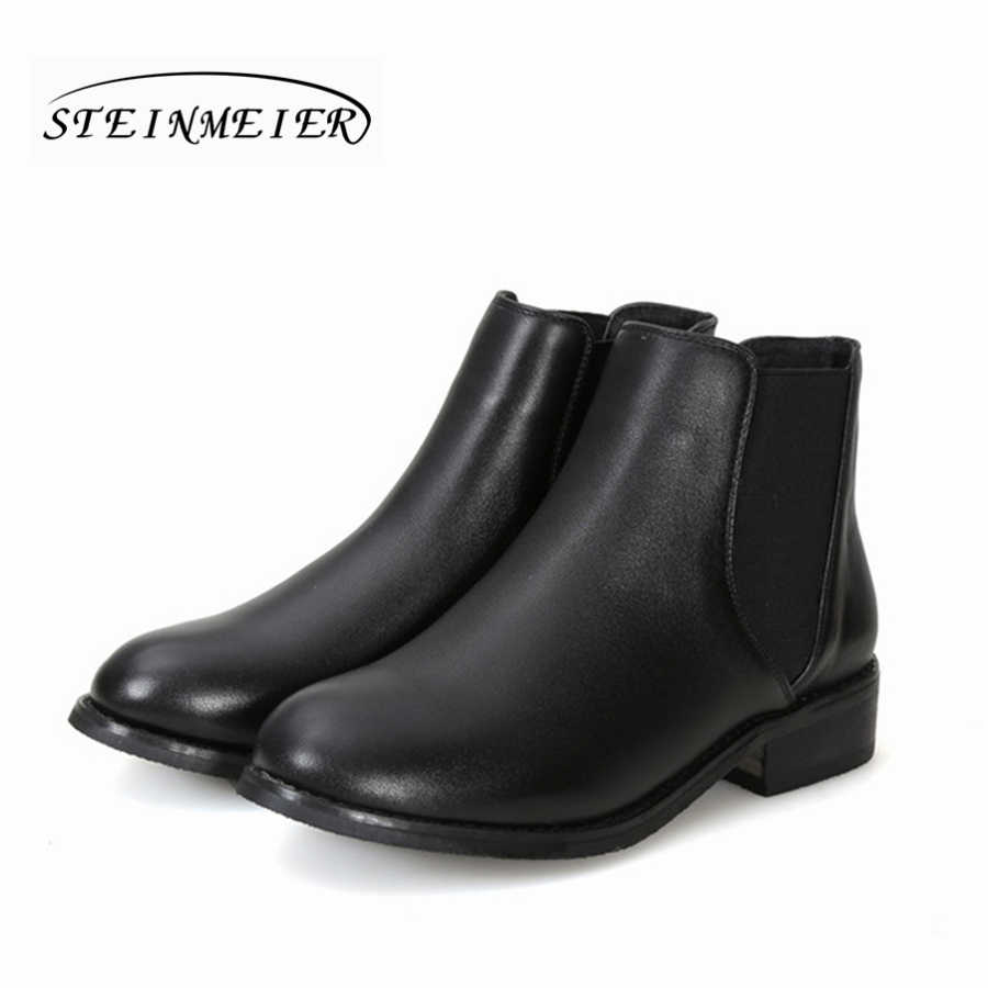 Kadın hakiki inek deri siyah yarım çizmeler düz Chelsea çizmeler rahat yumuşak el yapımı kadın bahar kısa çizmeler ayakkabı 2020